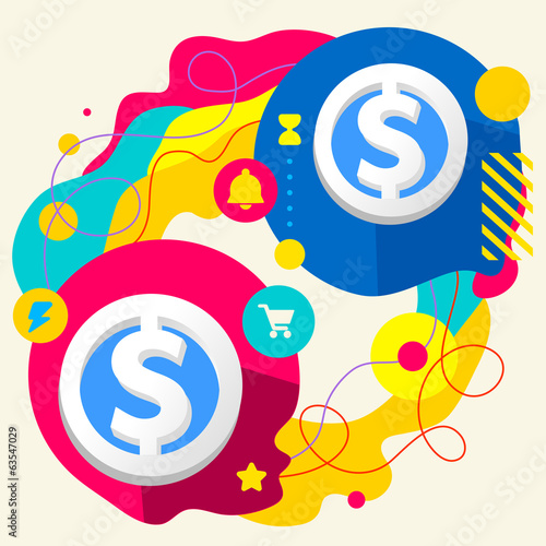 Dollar signs on abstract colorful splashes background with diffe