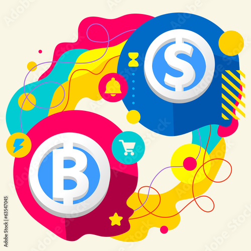 Bit coin and dollar sign on abstract colorful splashes backgroun