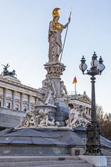 Vienna, Austria. The sculpture near of the Austrian Parliament