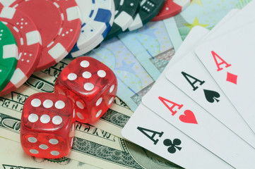 Poker, royal flush, dice and gambling chips