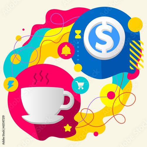 Cup and dollar sign on abstract colorful splashes background wit