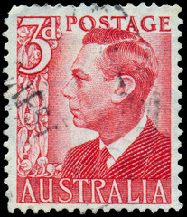 Stamp printed in Australia shows King George VI