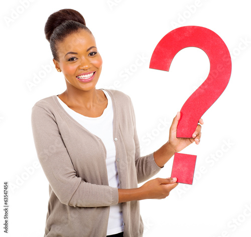 afro american woman holding question mark