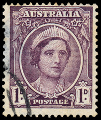 Stamp printed in Australia shows a portrait of Queen Elizabeth I