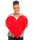 african girl showing red heart