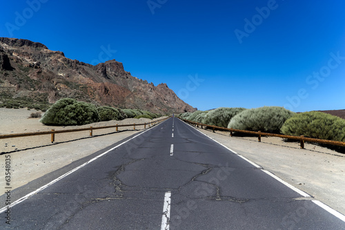 View at the road in Teide National Park, Spain