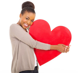 cute african woman holding heart