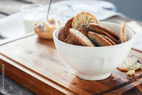 Cookies with Black Sesame Seeds  in white Bowl
