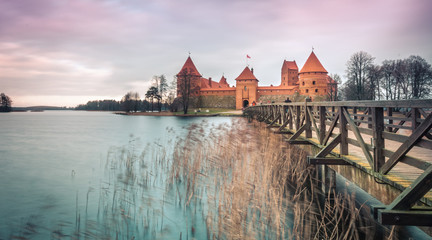 Scenic view of castle in Trakai, Lithuania.