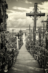Sky and hill of crosses near Siauliai, Lithuania.