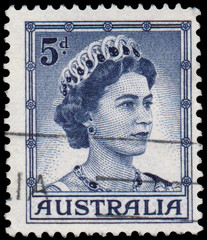 Stamp printed in Australia shows Queen Elizabeth II