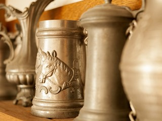 Old pewter dishes