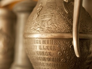 Old pewter engraved dishes