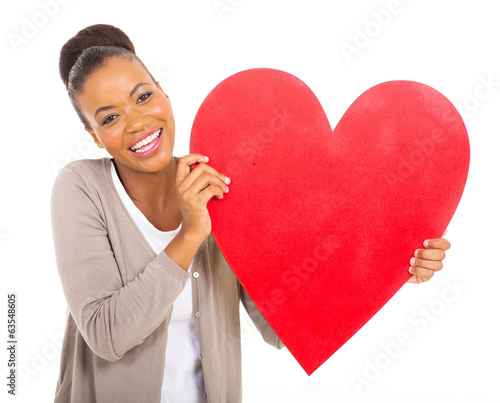 african american girl with heart shape