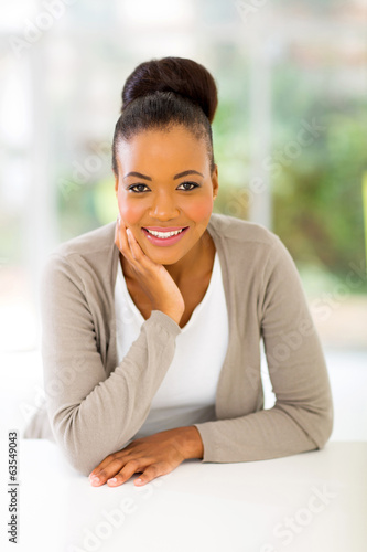 african american woman relaxing at home