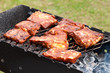 BBQ Ribs on grill with charcoal