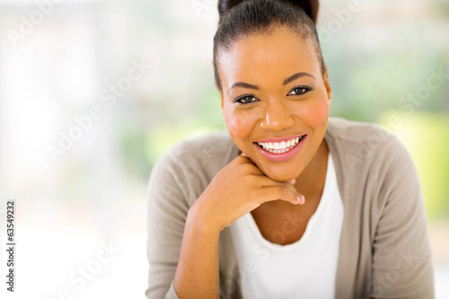 cheerful young african woman