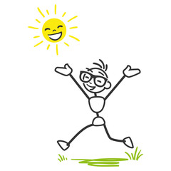 Stickman happy joyous stick figure running sunshine