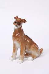 fox terrier Dog ceramic figurine