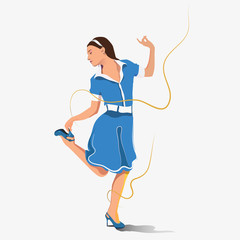 The image of a girl dancing on a white background