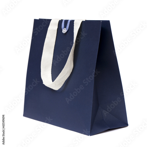 Blue shopping bag on white