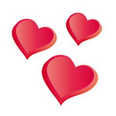 Drei rote Herzen - 3d