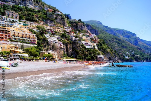 Beautiful blue water off the Amalfi Coast at Positano, Italy