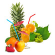 image of fruit and a cocktail on white background
