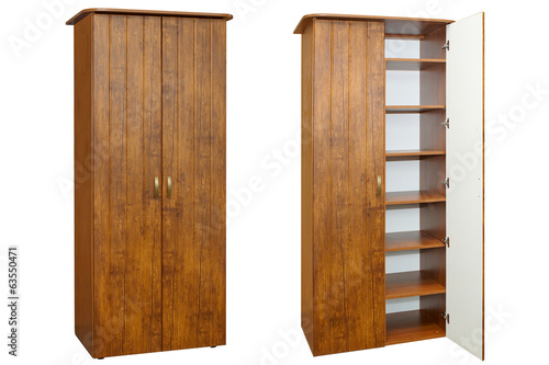 wooden wardrobe on a white