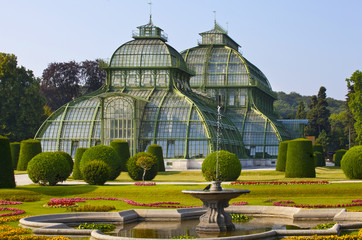 front side of palm house  in Vienna, Austria