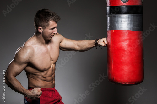 canvas print picture Fitness. Strong man with beautiful, sexy body