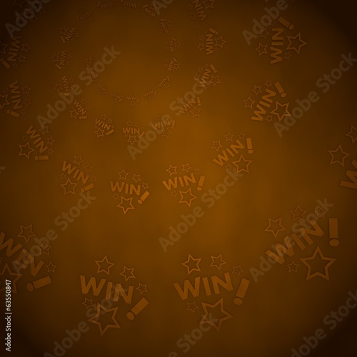 3d graphic of a stylish win label  on vintage background
