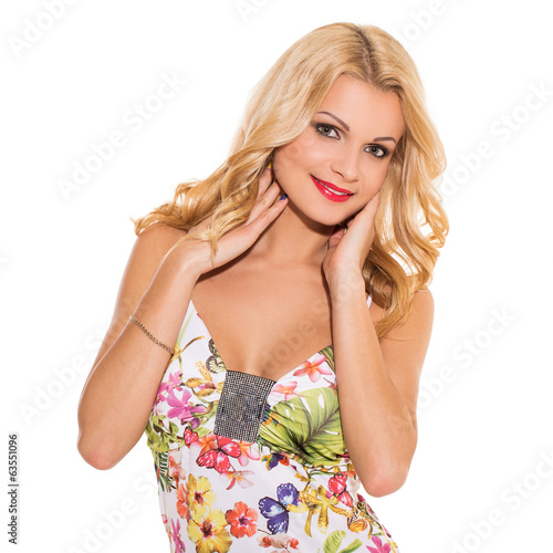 Vogue. Beautiful blonde in cute dress