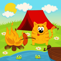 cat on  camping - vector illustration