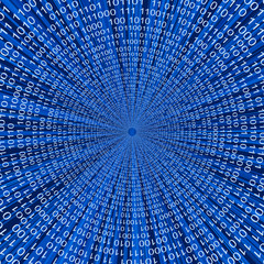 Abstract binary code 3D vector line blue background