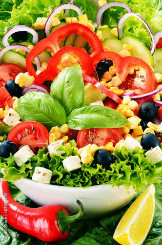 Vegetable salad bowl. Balanced diet