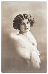 vintage portrait of young woman