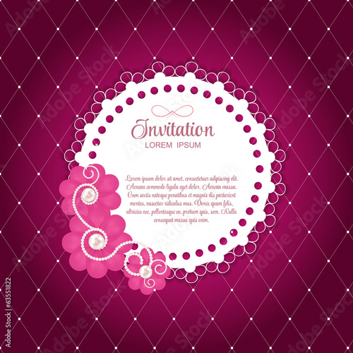 Romantic Flower Vintage Invitation Card Vector Background