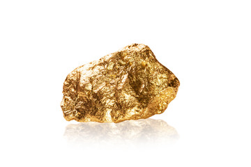 Gold nugget on white background.