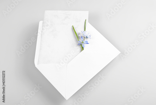Blank greeting card in envelope with spring flowers