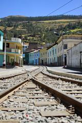 Train tracks in old town. Alausi Ecuador