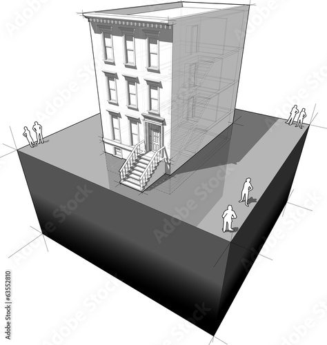 "diagram of a typical american townhouse (aka ""brownstone"")"