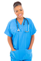 happy african american nurse