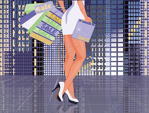 Sexy woman with shopping bags, vector illustration