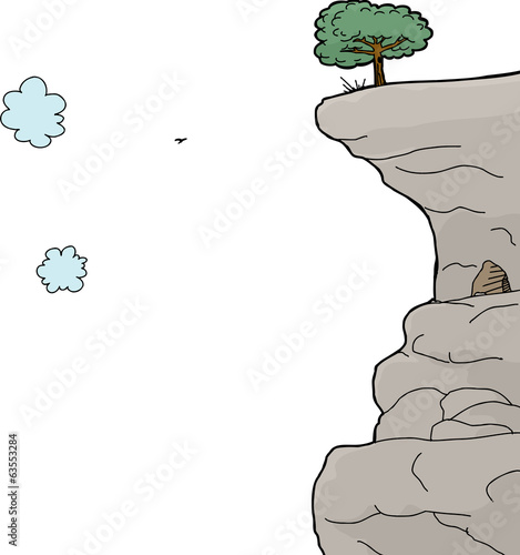 Cliff Over White Background