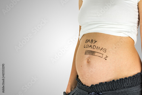 Baby Loading sign on a baby bump