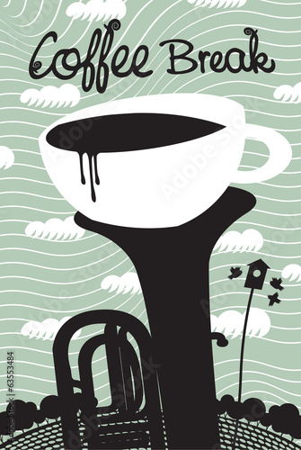 cup of coffee and wind instruments