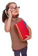 teacher looking up woman with glasses reading a book student iso