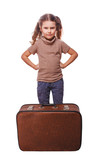 displeased distraught little girl failure to travel isolated on