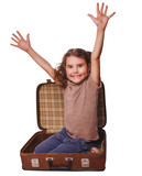 girl brunette baby sitting in suitcase for travel isolated on wh